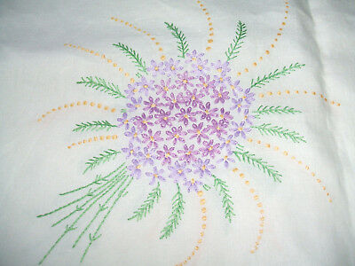"""Vintage Square White Linen Hand Embroidered Table Cloth 49"""""""