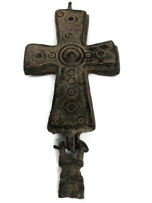 Cross Byzantine Bronze Medieval Christian Ancient Reliquary Crucifix Circa 400 y