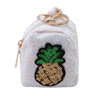 Pineapple Sequins Exquisite Small Wallets Zipper Coin Pocket Keyring Keychain B