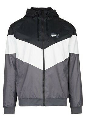 0fa12ef80ae9df New Mens Nike Sportswear Windrunner HD GX Jacket AJ1396-010 Black Grey Size  XL