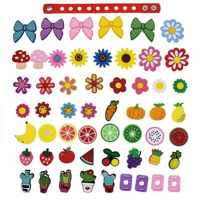 US Stock 51pcs Flower Fruit Plant PVC Shoe Adapter Charms Fit  Wristband