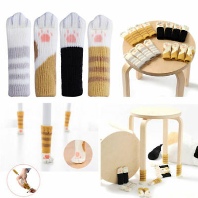 4PCS Cat Paw Knitting Wool Furniture Cover Socks Floor Protector Chair Table Leg