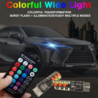 F267 7B76 A85B Car Dashboard Light COB T10 W5w Car Side Light RGB Beads Durable