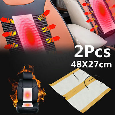 2Pcs 12V Car Carbon Fiber Heated Cushion Seat Heater Heating Pad Warmer Winter