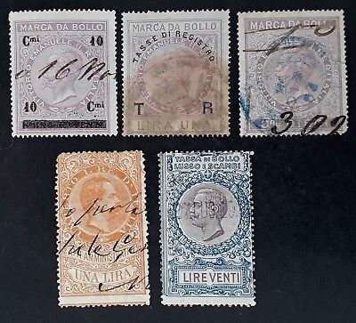RARE 1863- Italy lot of 5 Revenue Tax stamps used
