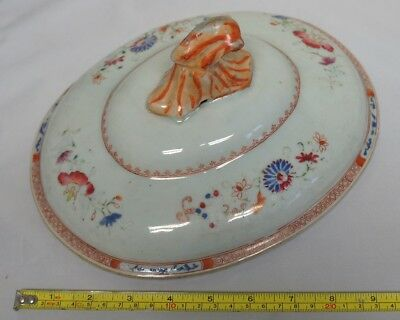 19Th Century Chinese Famile Rose Oval Tureen Lid With Finial