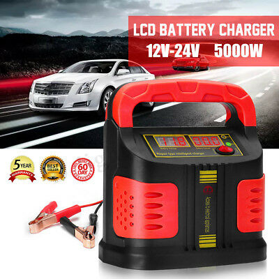 5000W LCD Pulse Repair Battery Charger 12V-24V Car Jump Starter Potable Booster