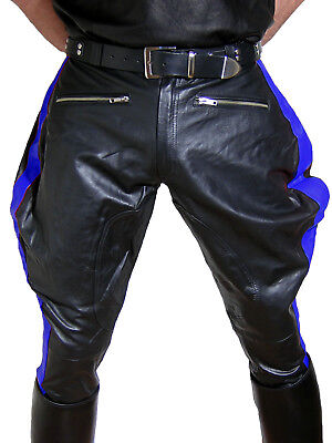 Motorcycle trousers pants black blue leather pants gay leather uniform BREECHES