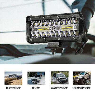 "7"" INCH 400W CREE LED Work Light Bar Flood Combo Driving OffRoad Tractor 4WD SUV"