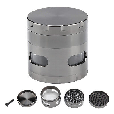 """Herb Grinder Crusher for Tobacco 4 Piece 2"""" Zinc Alloy Hand Muller Spice Silver"""