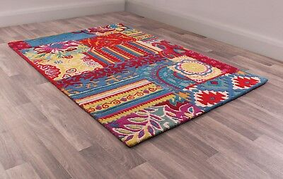 Fusion Biscay Multi Coloured Luxury Handtufted Wool Rug in various sizes