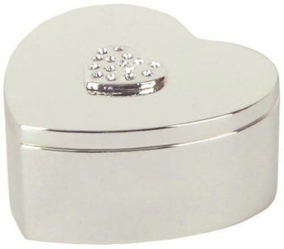 Heart Shaped Silver Plated Trinket Box with Heart Crystals Tops - Gift