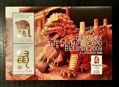 2008 Christmas Island Stamps - Year of The Rat - Olympic Expo -Minisheet - MNH