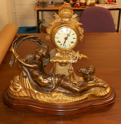 Imperial Bronze figurine with Cherub, Mantel Clock Made in Italy with key