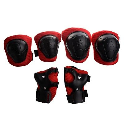 2X(Skating Gear Knee Elbow Wrist Pads Protector Red Black for Kids L1E4)