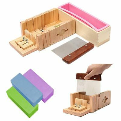 3Pc Wood Loaf Soap Mould with Silicone Mold Cake Making Slicer Cutter Wooden Box
