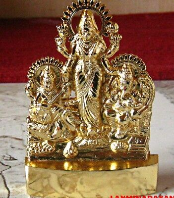 Lord Ganesha Laxmi Lakshmi Saraswati Antique Idol Statue Om Hindu God Blessed Om