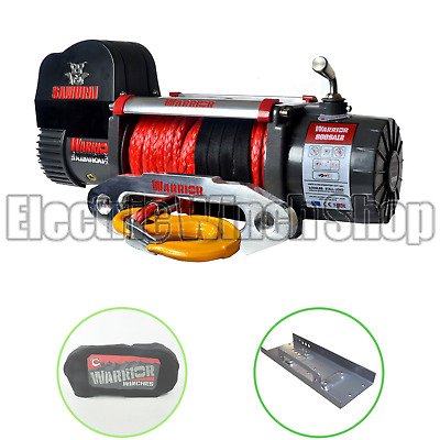 Warrior Samurai S8000 12v Winch with Synthetic Rope, Cover & Mounting Plate