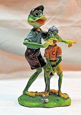 Frogs Playing Golf Figurine