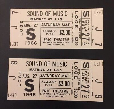 Vintage 1966 Movie Tickets Unused The Sound of Music Eric Theater Harrisburg PA