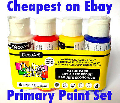 4 x 2oz Decoart Crafters Acrylic Paint Primary Set Art Craft Water based Artist