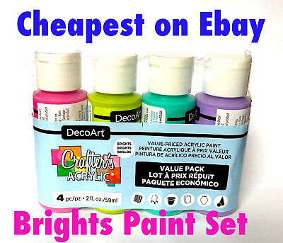 4 x 2oz Decoart Crafters Acrylic Paint Brights Set Art Craft Water based Artist