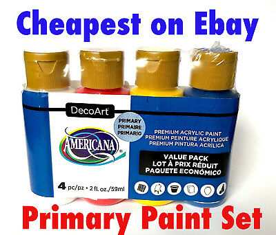 4 x 2oz Decoart Americana Acrylic Paint Primary Set Art Craft Water based Artist