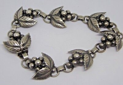 Vintage Mid 20th Century Danish Silver Bunches of Grapes Bracelet John Lauritzen