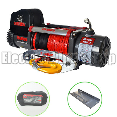 Warrior Samurai S12000 12v Winch with Synthetic Rope, Cover & Mounting Plate