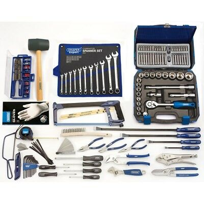Hand Tool Kit Set By Draper Pro For Workshops - (Blue 6 Drawer Tool Chest)