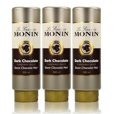 3x Monin Dunkle Schokolade Sauce 500 ml - DarkChocolate Flavoured Sauce