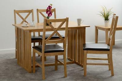 Richmond Foldaway Dining Table with Chairs Option in Oak Varnish Free Del