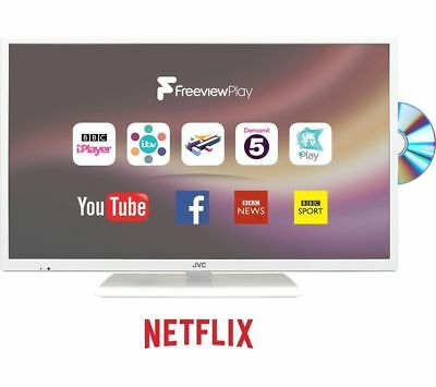 """JVC LT-24C686 24"""" Smart LED TV with Built-in DVD Player (HD Ready 720p) - White"""