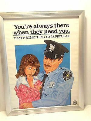 """Vtg 1987 POLICE SUPPORT POSTER PROGRAM """"YOU'RE ALWAYS THERE WHEN THEY NEED YOU"""""""