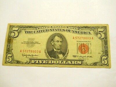 1963 $5.00 United States Red Seal Note
