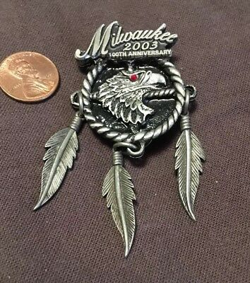 2003 Harley-Davidson 100th Anniversary/Milwaukee  Pin Ruby Eyed Eagle W/feathers