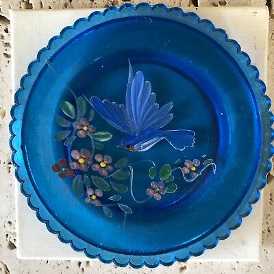 PAIRPOINT Lead Crystal Cup Plate Hand-Painted Bluebird Flowers Blue Plate 1991
