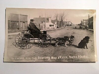 3 Dog Pulled Carriage Nome Alaska 1912 Photograph 25,000 Mile Trip