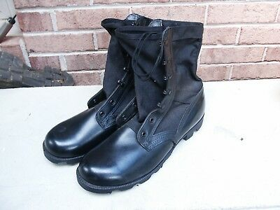 US Military Spike Protection Black Canvas Combat Boots (Size 10-1/2R)- Unused
