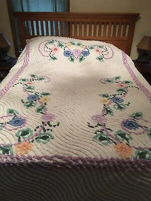 "Vintage Chenille BedSpread Purple Trim Pink Yellow Blue Flowers 88x102"" Plush"