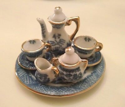 9 Piece Collectable Porcelin Mini Tea Set Cobalt Blue & White & Gold