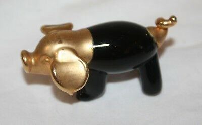 Black Blown Art Glass Pig Figurine Gold Plated San Pacific