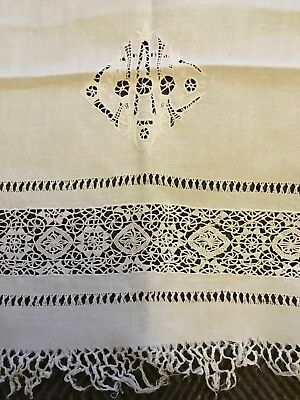 Pair of ANTIQUE embroidered & lace LINEN / SILK TABLECLOTHS - 1920s or earlier