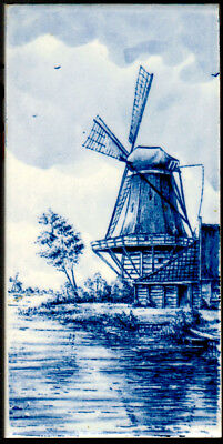 "HAND PAINTED DELFT TILE Windmill 3"" x 6"" Ready for display on the wall"