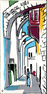 "HAND PAINTED TILE Street in Jerusalem 3"" x 6"""