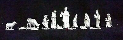 Vintage Christmas  Nativity pewter 14 peaces made by Tortuga