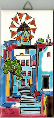 "HAND PAINTED TILE Street in Greece 3"" x 6"" Neofitou Keramik"