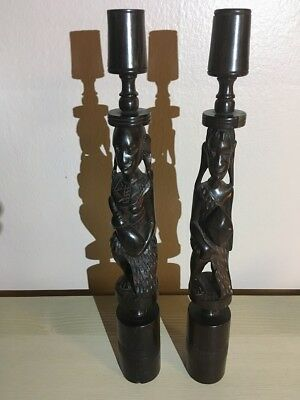 """African Hand Carved Ebony """"maasai Couple"""" Set Of 2 Candleholders [Vintage & Rare"""