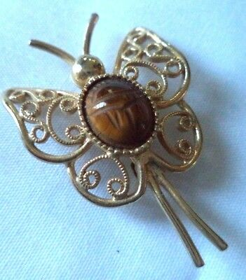 "Vintage Estate Signed Sarah Cov Tigers Eye Scarab Butterfly 1 3/8"" Brooch! 1750X"
