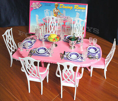 Gloria Furniture Dollhouse 6 Chairs Dining Room Table Chairs Playset For Barbie